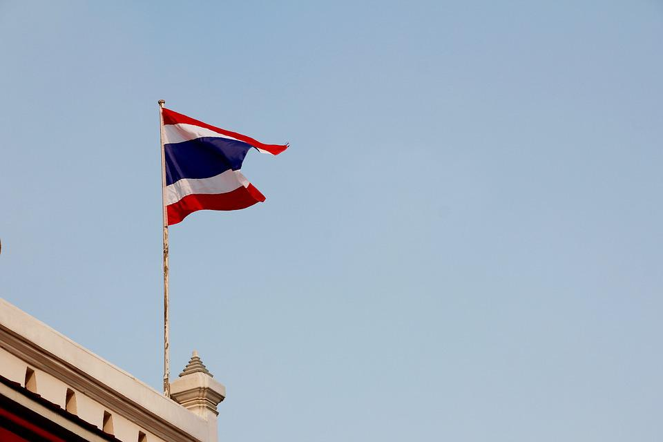 Thailand, Flag, Roof, Building, Buddhism, Asia