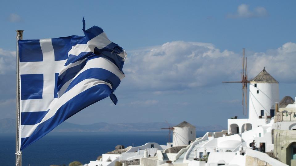 Flag, Greece, Santorini