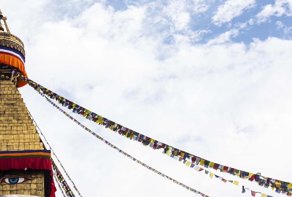 Stupa, Flag, Prayer Flags, Buddhism, Religion, Temple