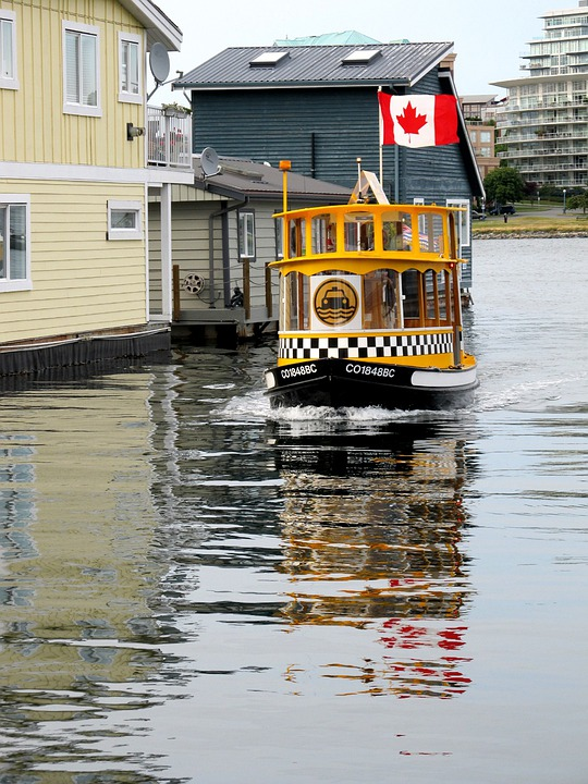 Yellow, Water, Taxi, Harbor, Boat, Canadian, Flag