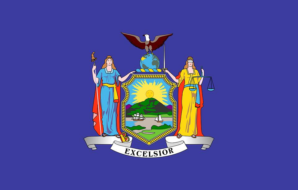 New York, Usa, State Flag, Flag, Blue, Excelsior