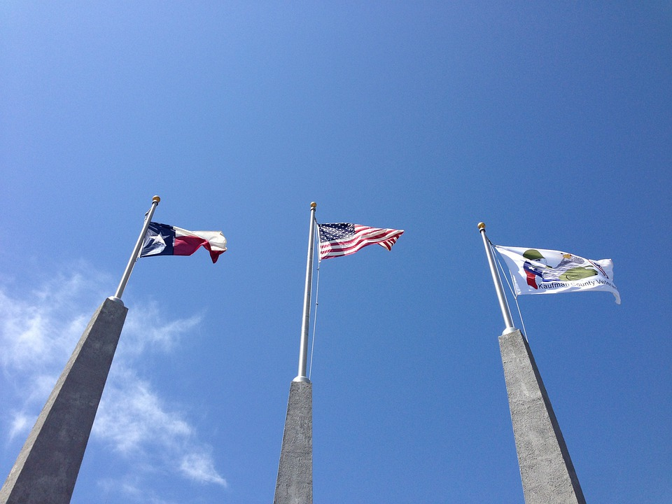 Texas Flag, American Flag, Blue Sky, Flags, Nationality