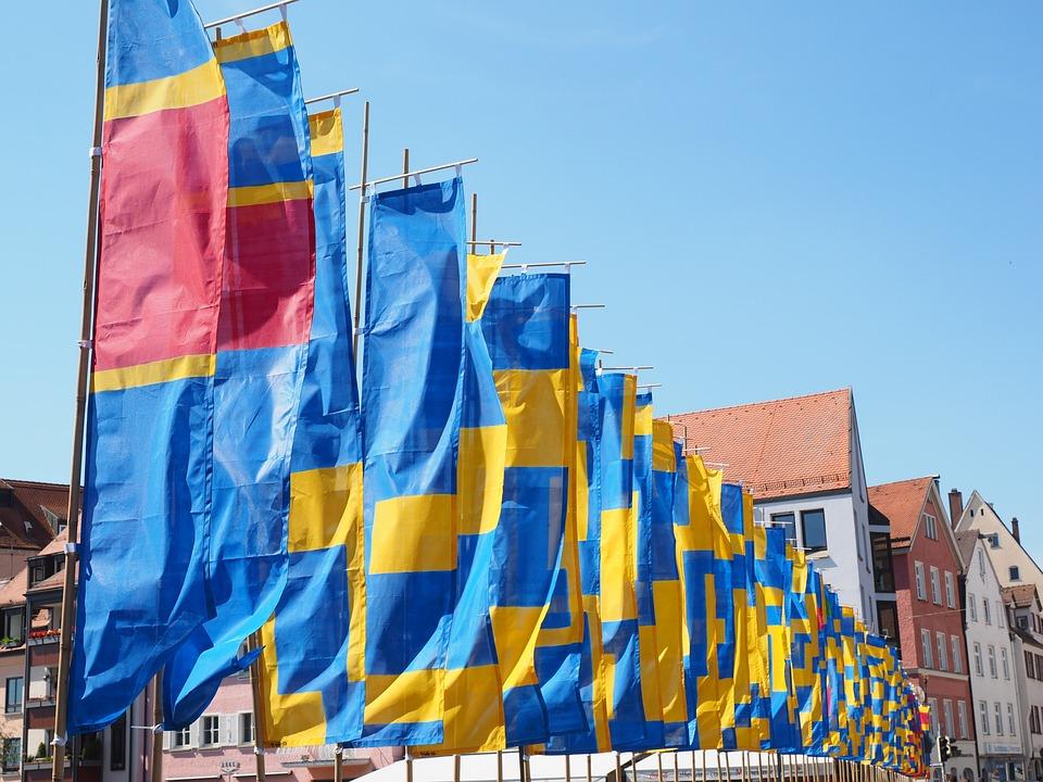 Flags, Blow, Flutter, Commemorative Event, Ulm