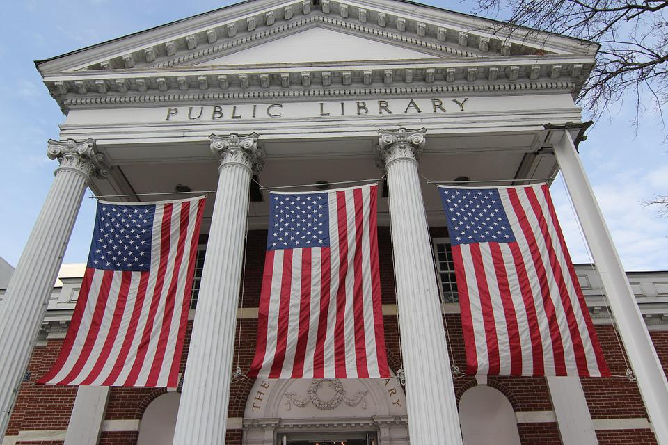 Flags, Civic Pride, Public Building, Public Library
