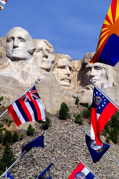 Mount Rushmore, Flags, South Dakota, Mount, Rushmore