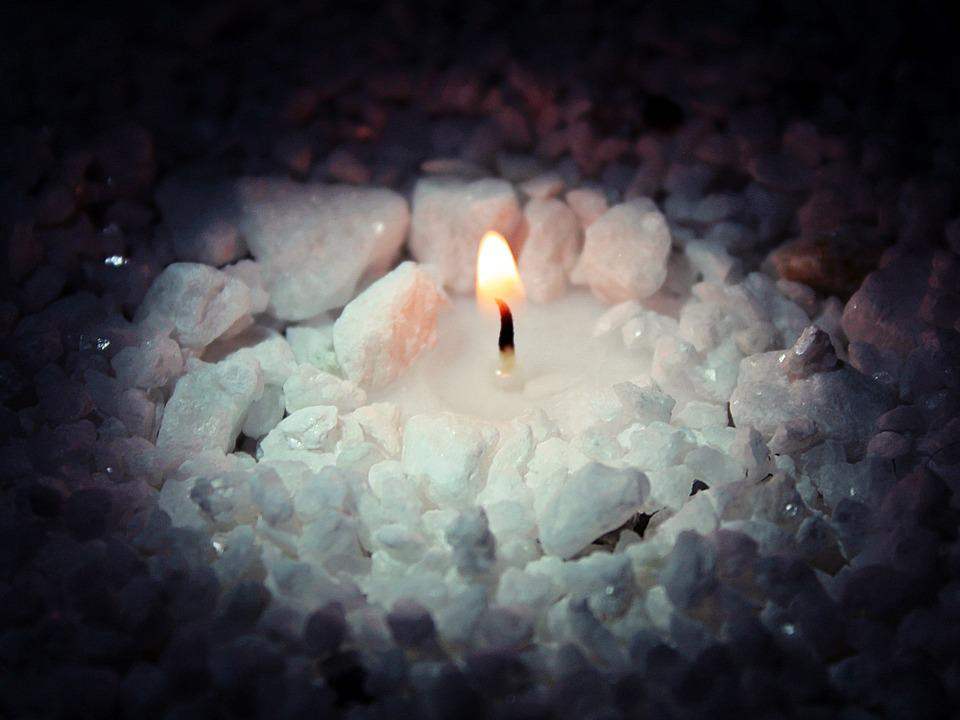 Candle, Candlelight, Light, Flame, Stones, Wax, Romance