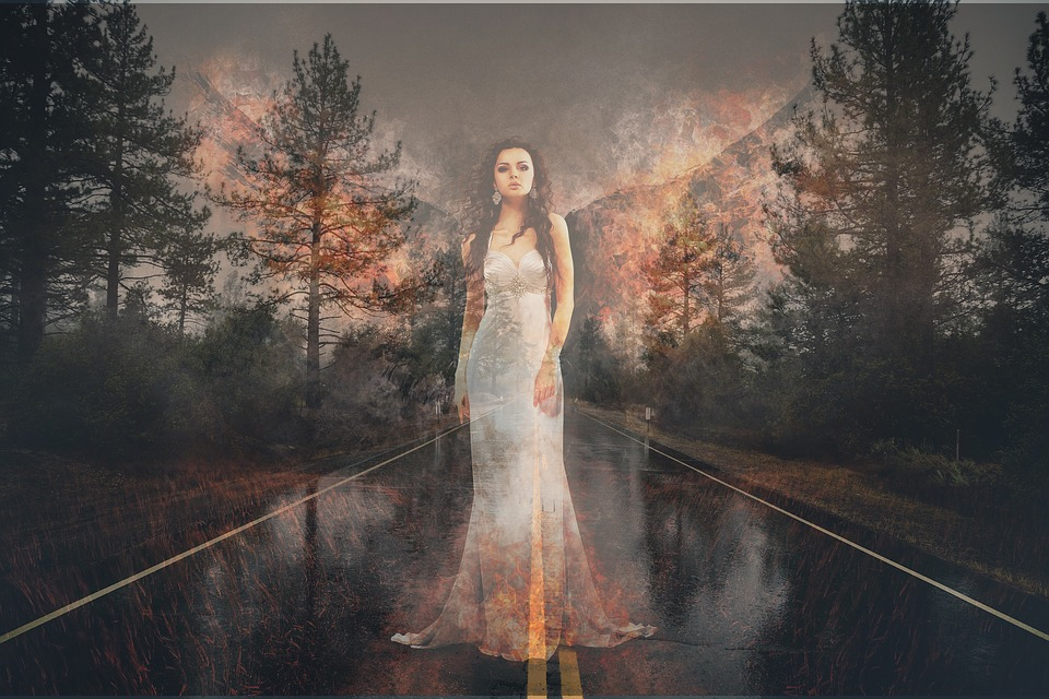 Forest Fire, Angel, Road, Rain, Flame, Ghost, Forest
