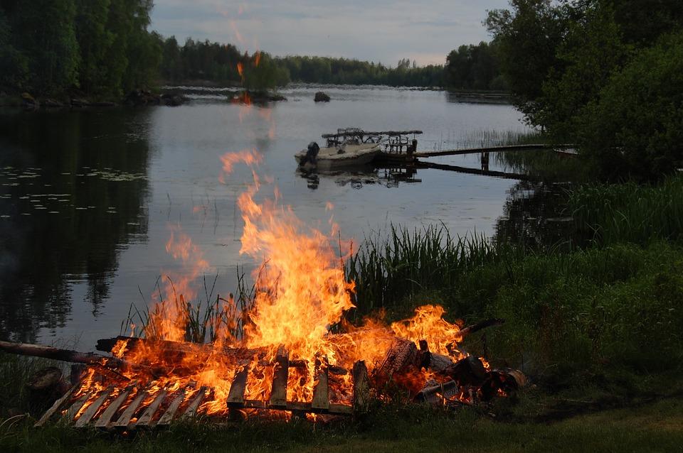 Campfire, Bonfire, Midsummer, Fire, Flame, Summer, Heat