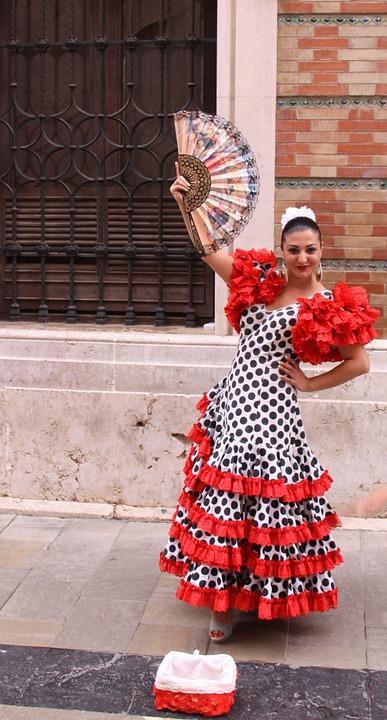Flamenco Dancer, Dress, Ruffles, Dots, Range, Dancer