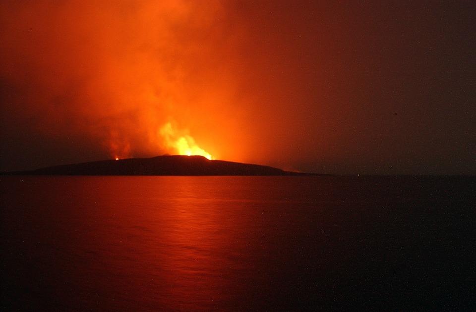 Jabal, Yemeni, Volcano, Eruption, Fire, Flames, Red
