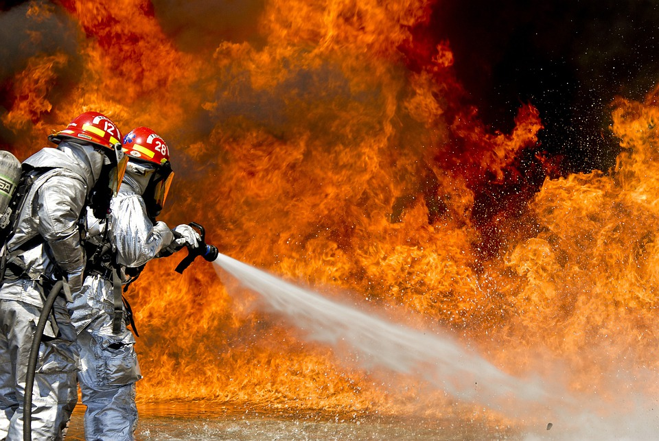 Firefighters, Fire, Flames, Outside, Outdoor, Water