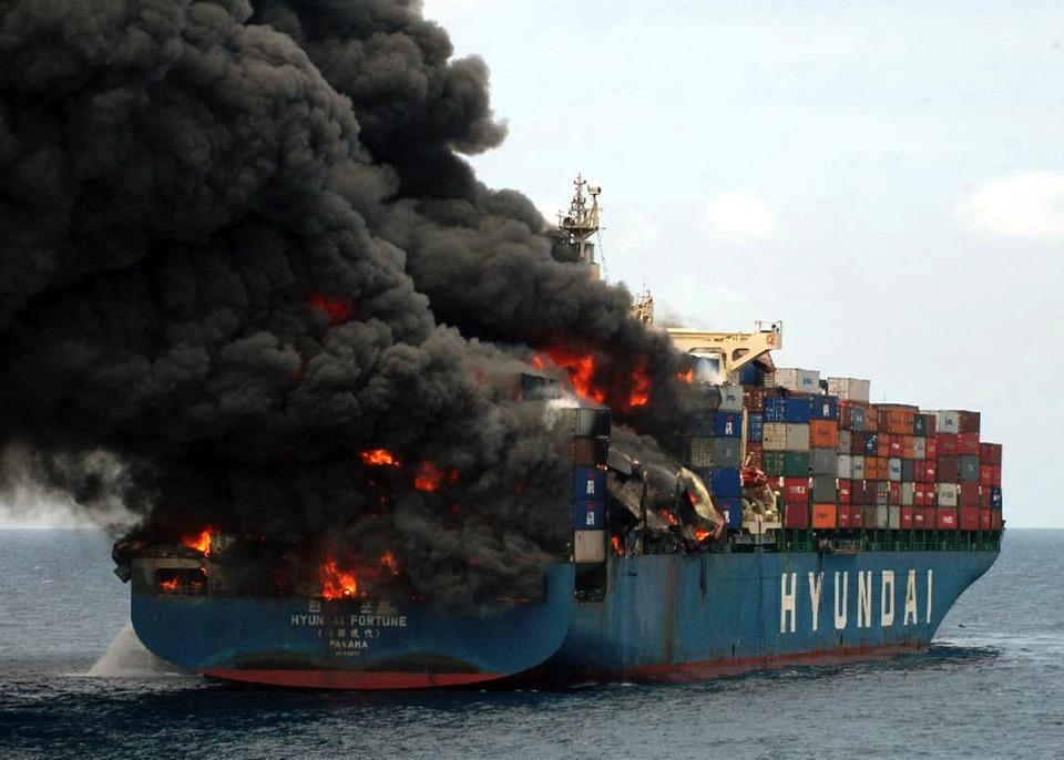 Yemin Ship, Cargo, Transport, Fire, Flames, Flaming