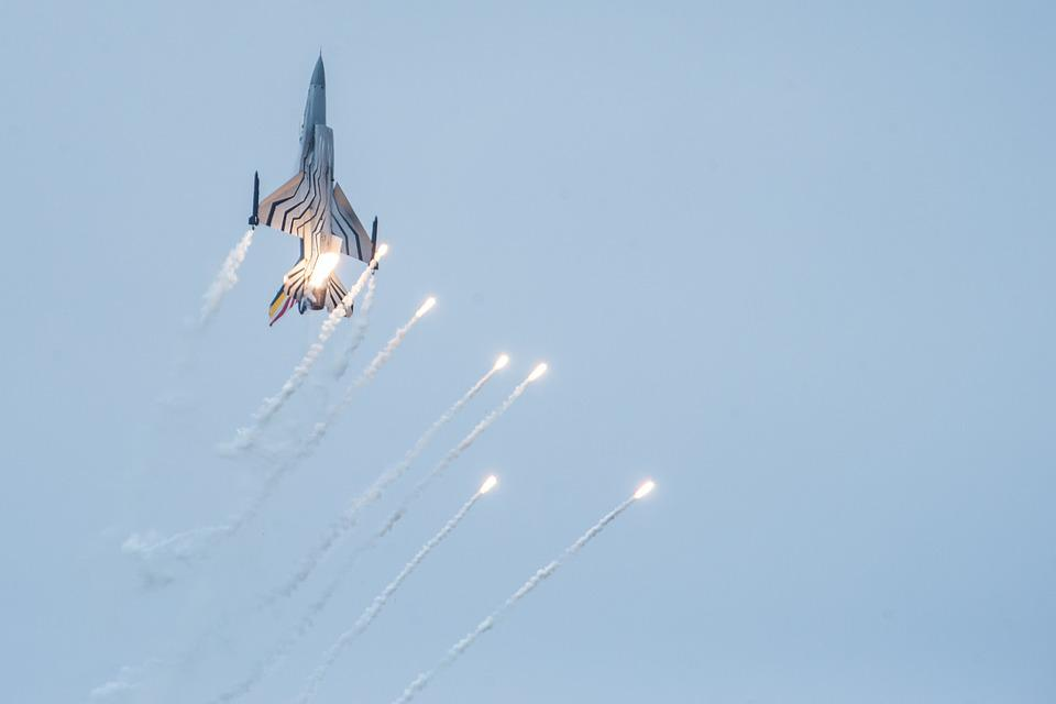 Fighter Aircraft, Flares, Show, Flight, Rolling