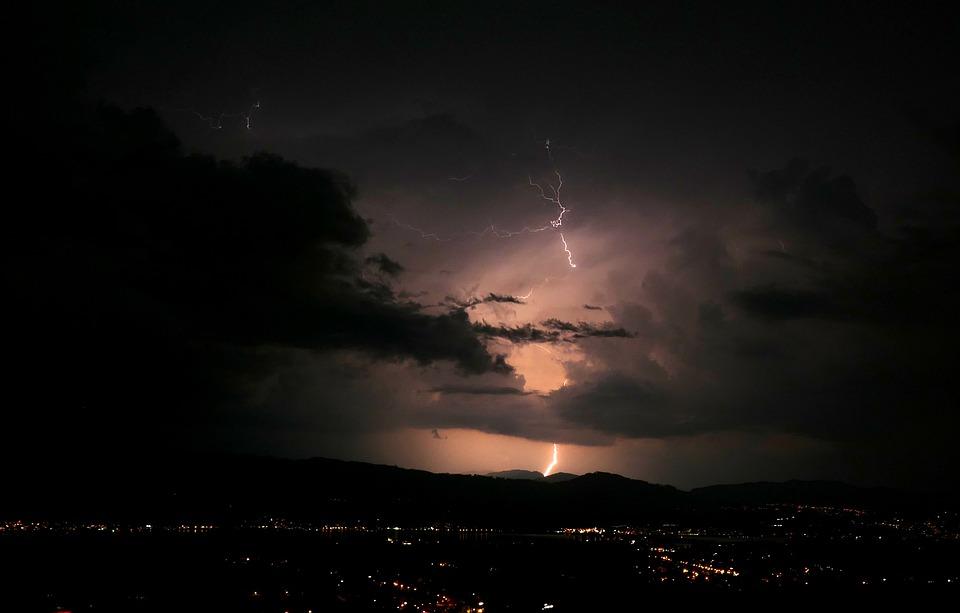 Flash, Evening, Night, Clouds, Lighting, Thunderstorm
