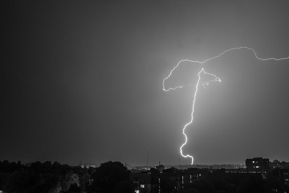Lightning, City, Flash, Thunderstorm, Night, Storm