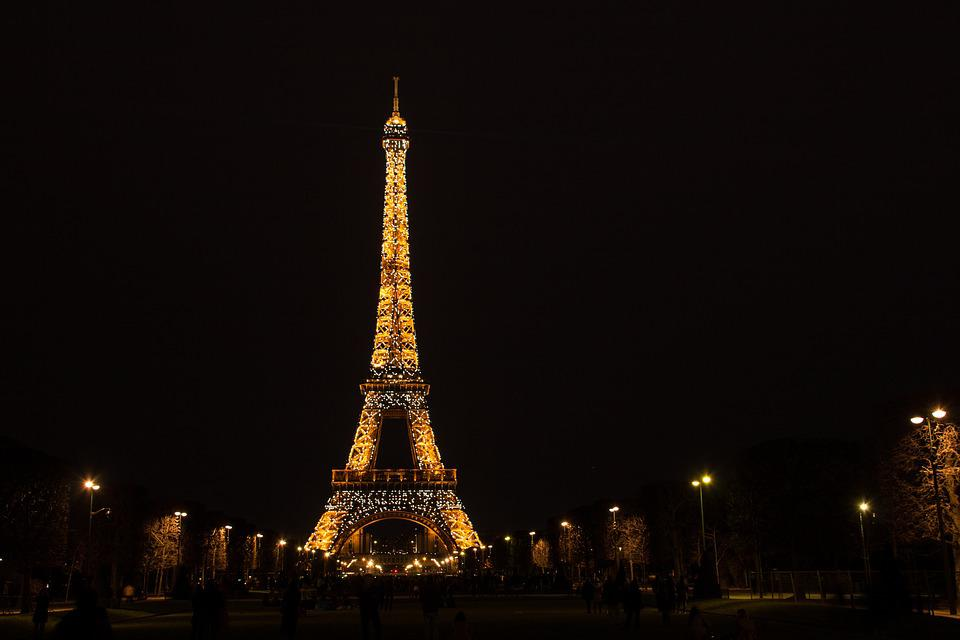Paris, The Eiffel Tower, Evening, Flashing, Light