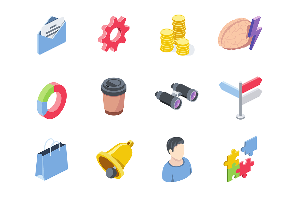 Email, Gear, Money, Coins, Flat, Icons, Brain, Coffee