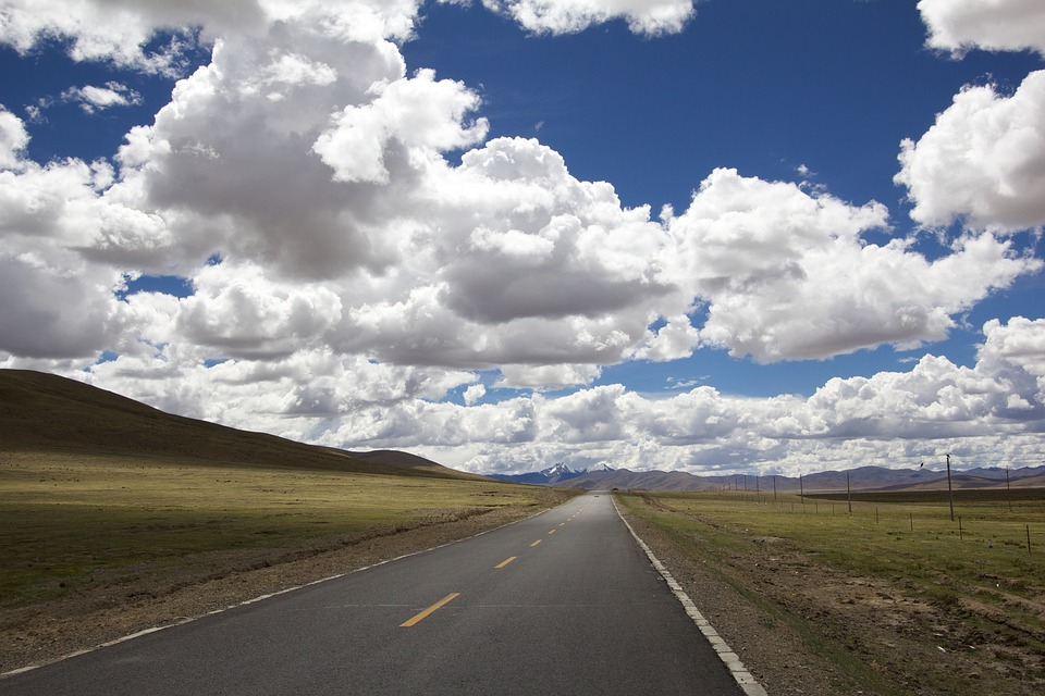 Road, Distance, Landscape, Horizon, Straight, Flat