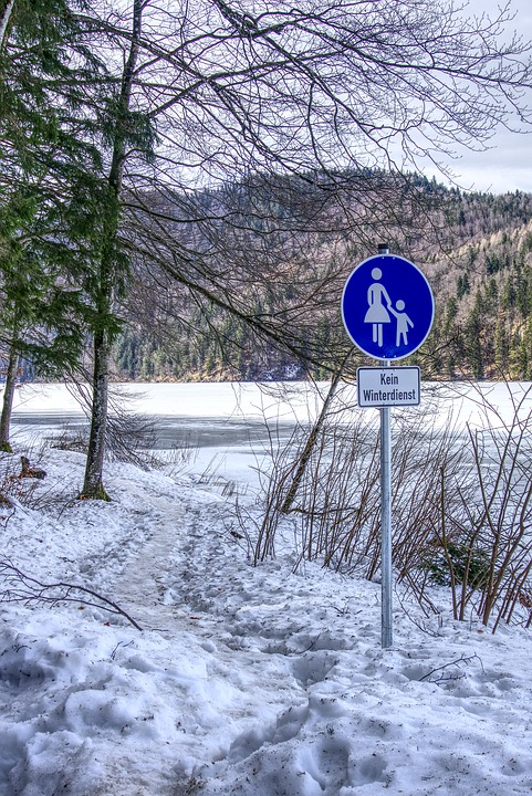 Traffic Sign, Pedestrian, Flatly, Away, Alpsee