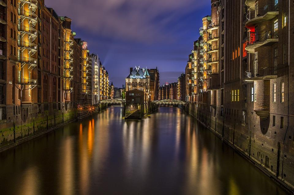 Hamburg, Speicherstadt, Lighting, Light, Night, Fleet