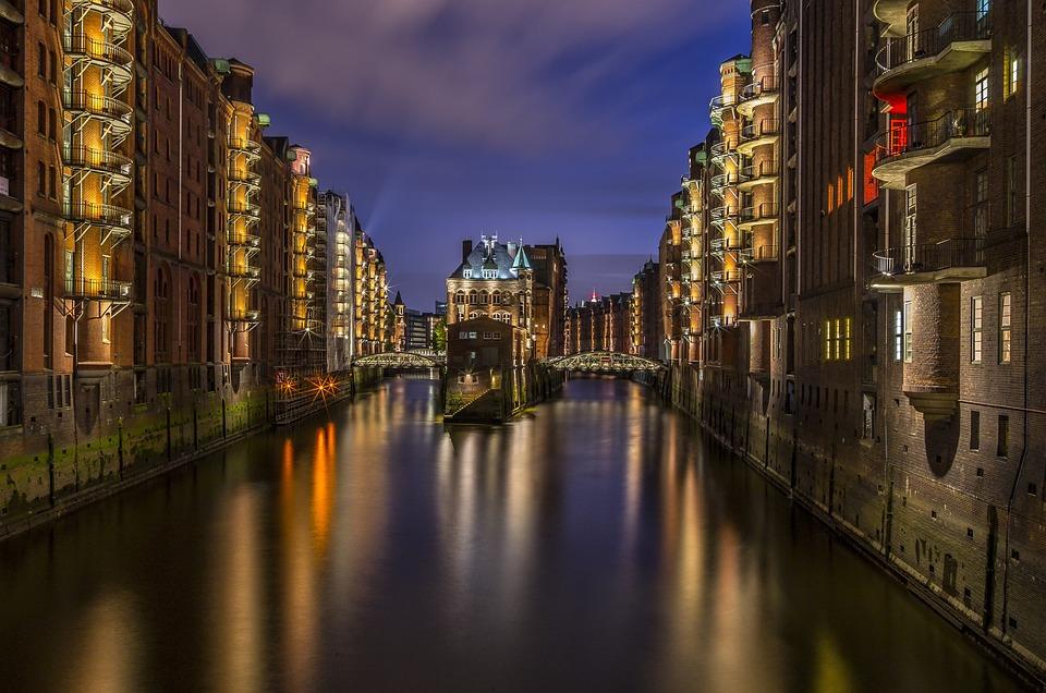 Hamburg, Speicherstadt, Lighting, Light, Night, Fleet