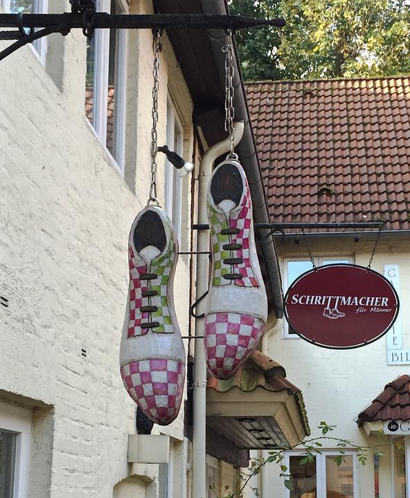 Shoes, Advertising, Company Sign, Flensburg, Symbol