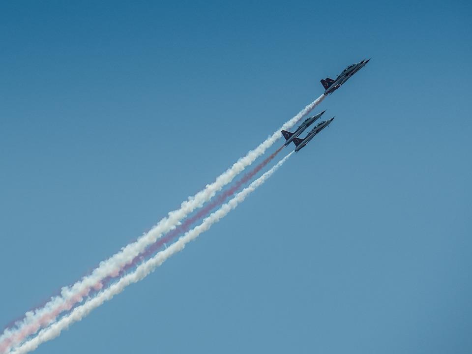 Air Festival, Flight, Aircraft, Smoke, Sky, Blue
