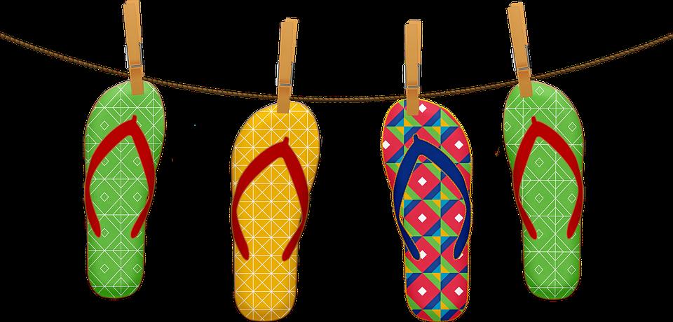 Flip Flops, Clothes Hanger, Clothes Pin, Stitches
