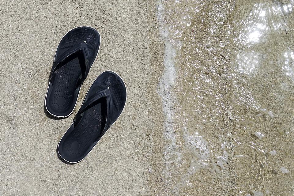 Beach, Sea, Water, Flip Flops, Flip Flps, Holiday