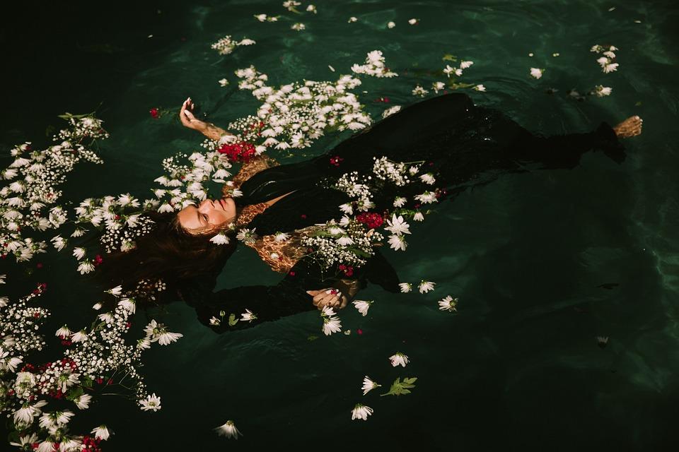 Floating, Flowers, Petals, Swimming, Swimming Pool