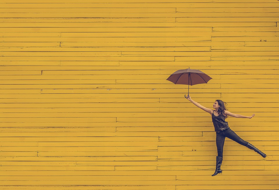 Woman, Umbrella, Floating, Jumping, Yellow Background