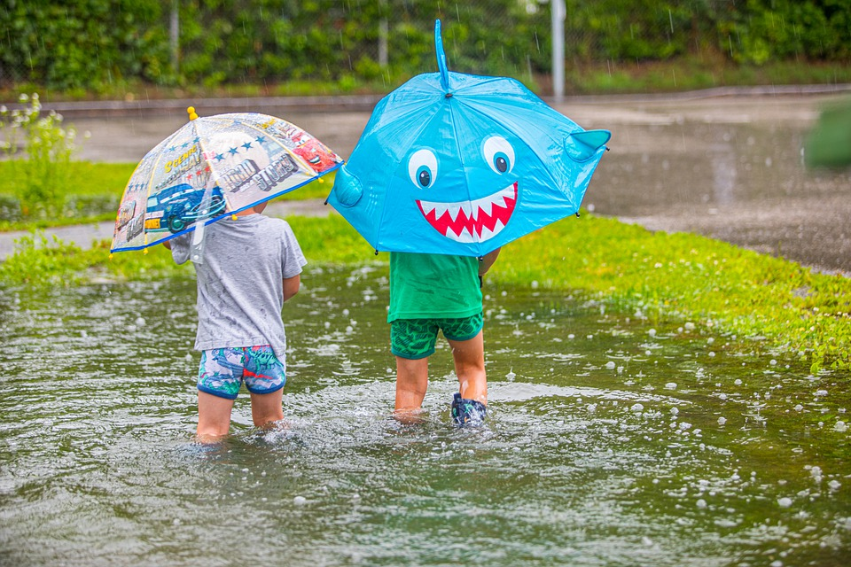 Rain, Flooding, Umbrella, Children, High Water, Flood