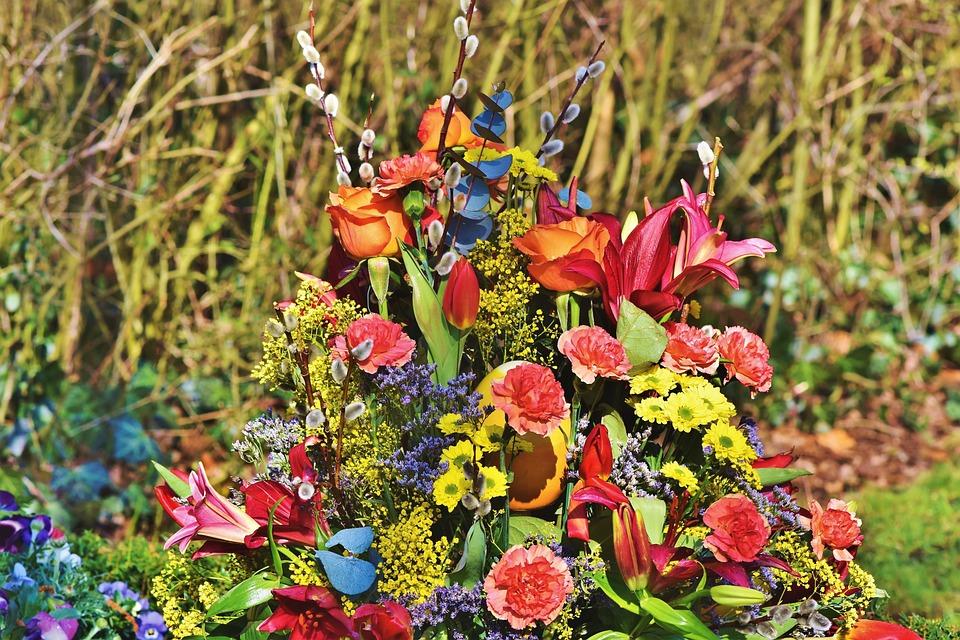 Grave Arrangement, Floral Arrangement, Flowers, Tulip