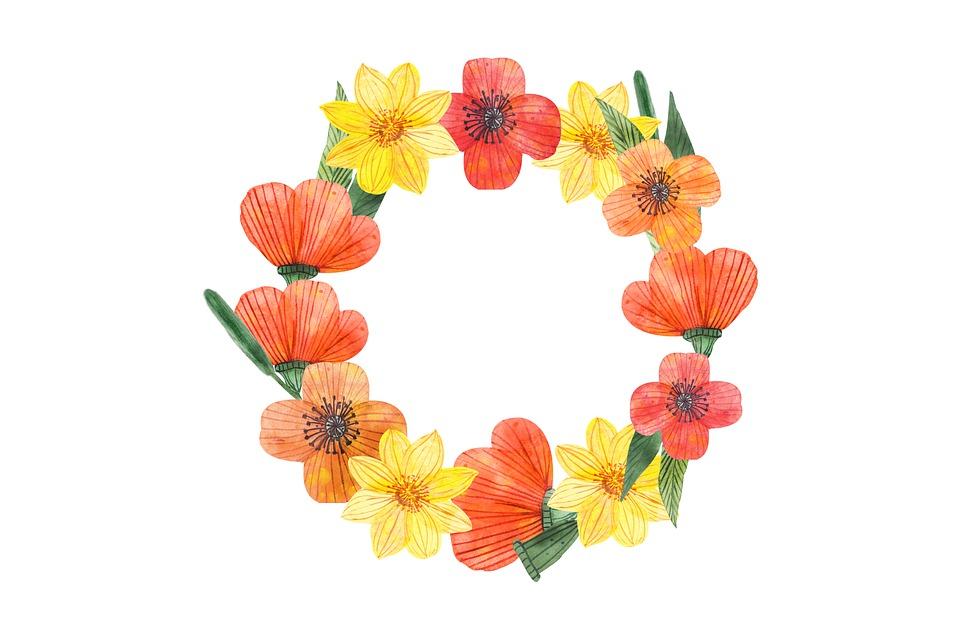 Wreath, Flowers, Dahlias, Bloom, Blossom, Floral