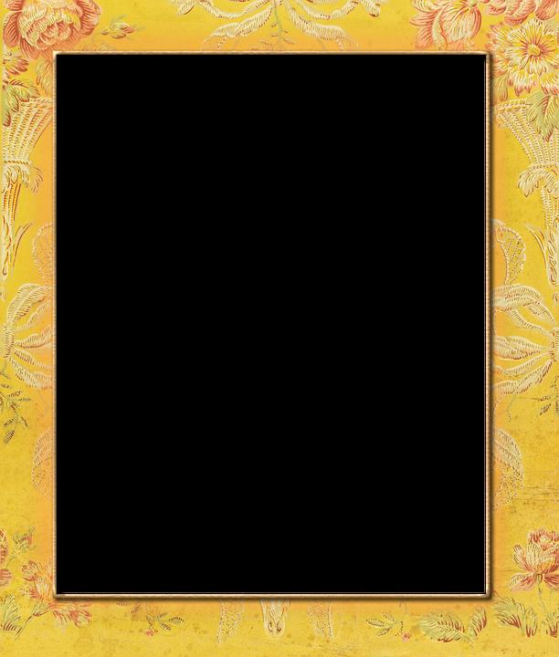 Yellow, Frame, Vintage, Brocade, Floral, Transparent