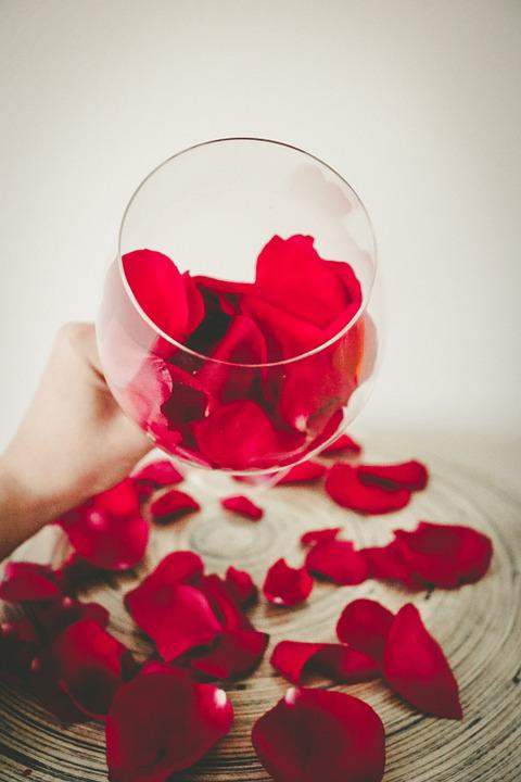 Rose, Petals, Wine, Glass, Floral, Blossom, Rose Petals