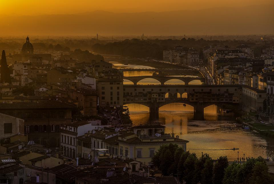 Italy, Sunset, Arno River, Florence, Architecture