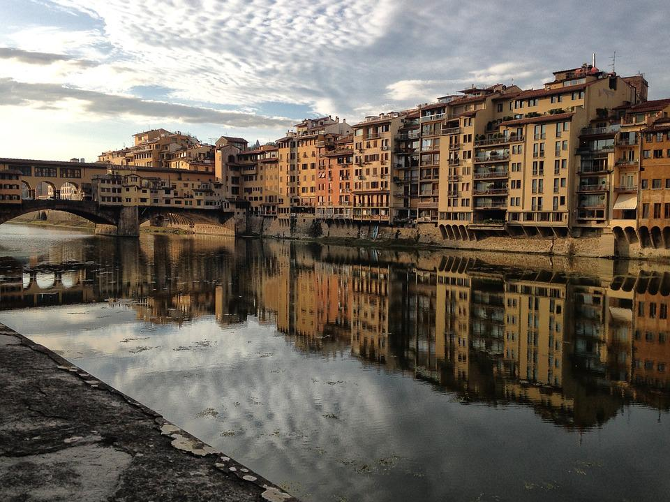 Florence, River, Bridge, Reflection, Reflections