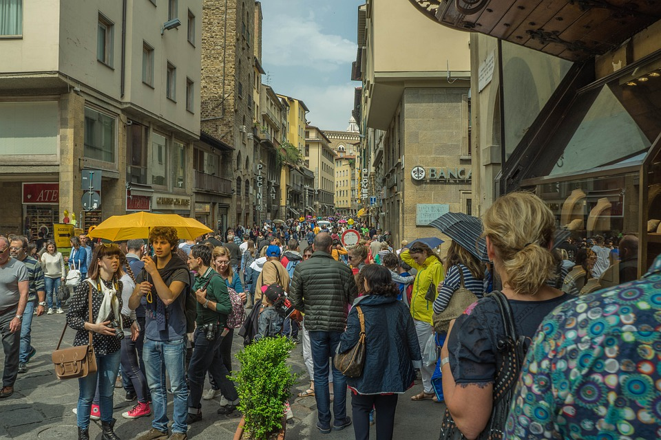 Florence, Italy, People, Walking, Shopping, Square