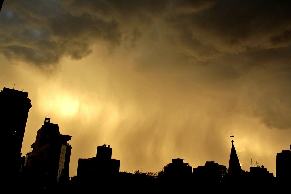 City, Sunset, Rain, Sky, Buildings, Florianópolis