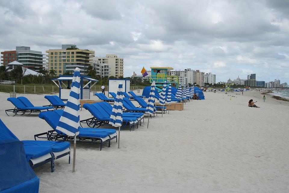 Beach, Chairs, Bay Watch, Miami Beach, Florida