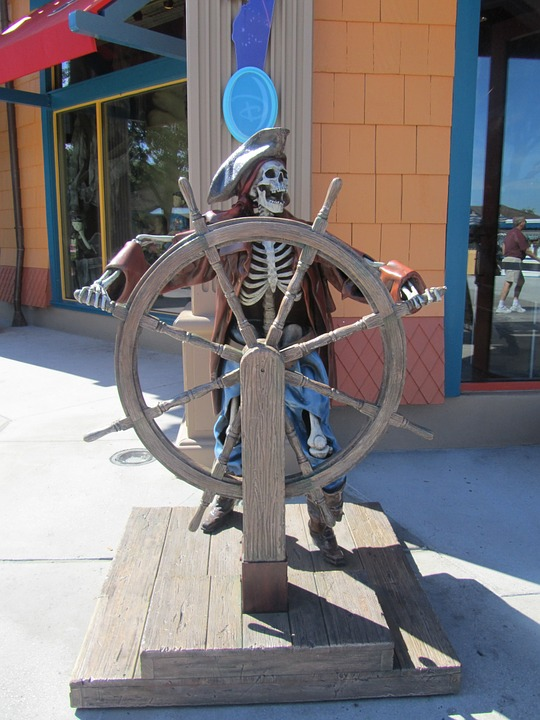 Pirate, Statue, Disneyland, Florida, Man, Skull, Scary