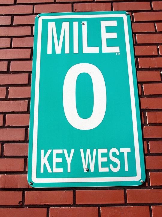 Mile Marker Zero, Sign, Key West, Florida, Background