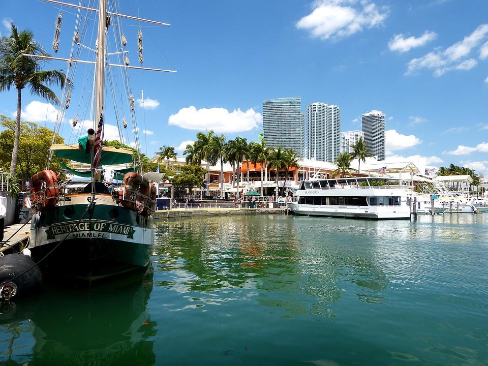 Usa, Florida, Miami, Port, Boats