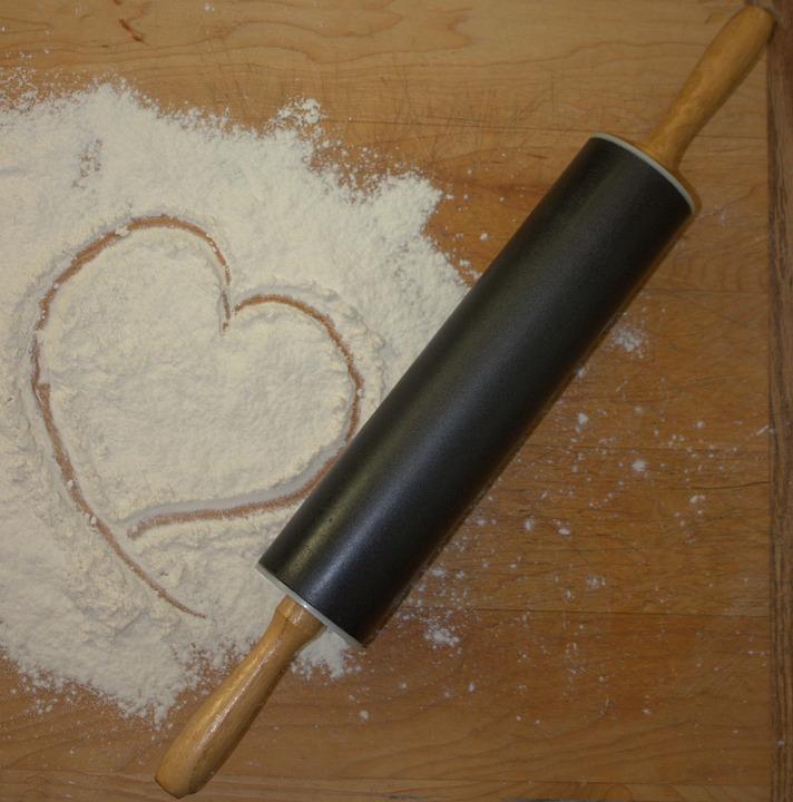 Rolling Pin, Flour, Bake, Heart, Shape, Rolling