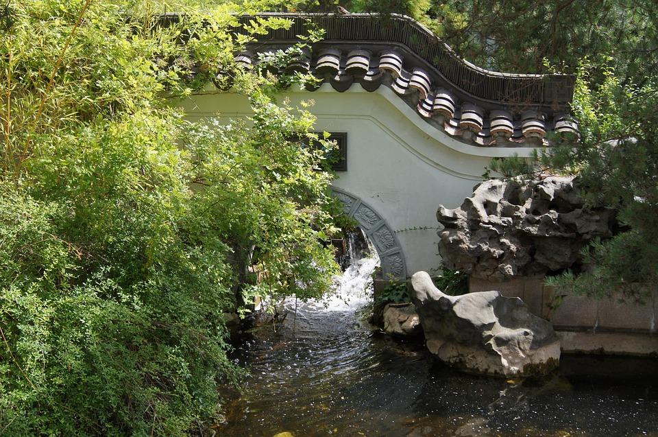 Chinese Bridge, Bach, Nature, Water, Flow, Park