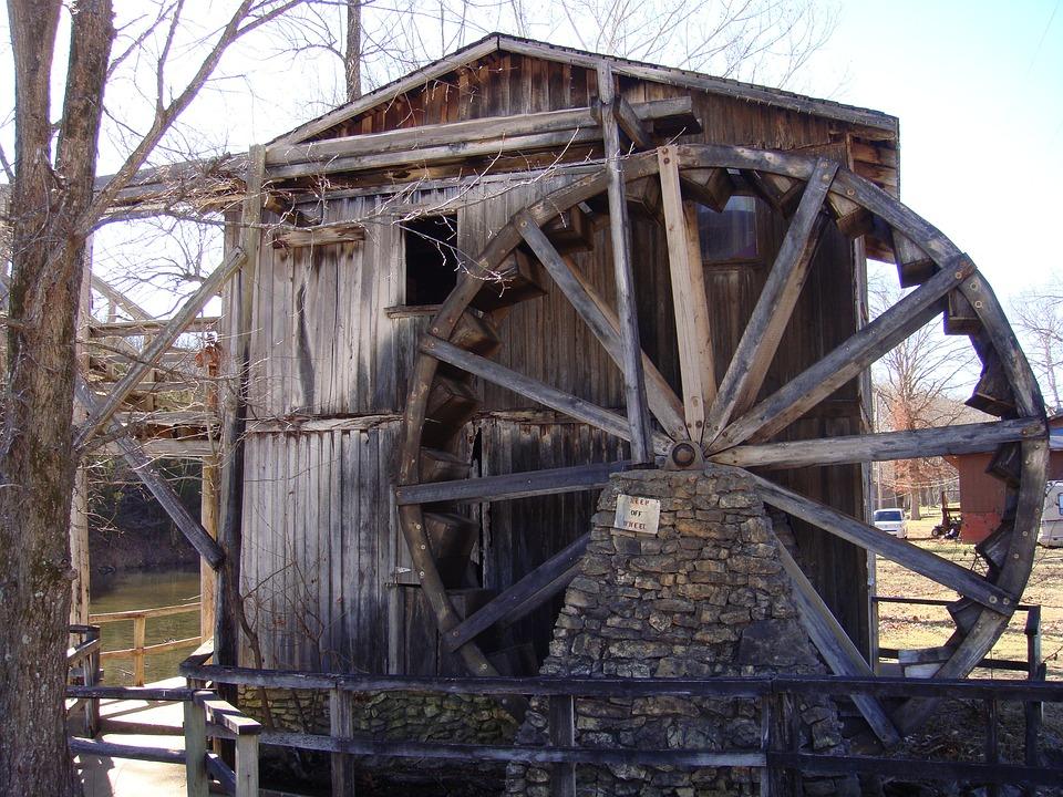 Water Wheel, Water, Old Wood, River, Flow, Mountainside