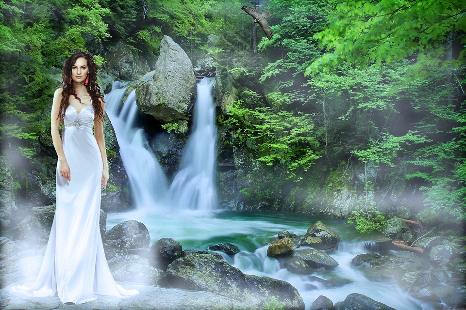 Waterfall, Waters, Nature, River, Flow, Woman, Dress