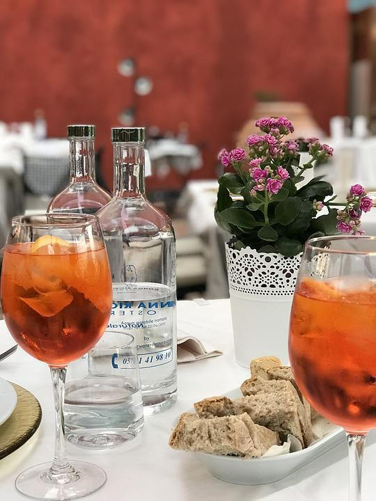 Table, Aperol Spritz, Dinner, Drink, Flower, Water
