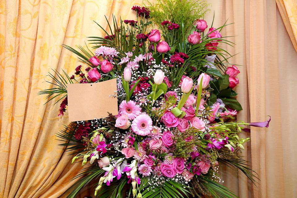 Flower Arrangement With Card, Bunch Of Flowers